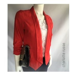 (Sz L)Charlotte Russe Tomato Red Open Front Blazer